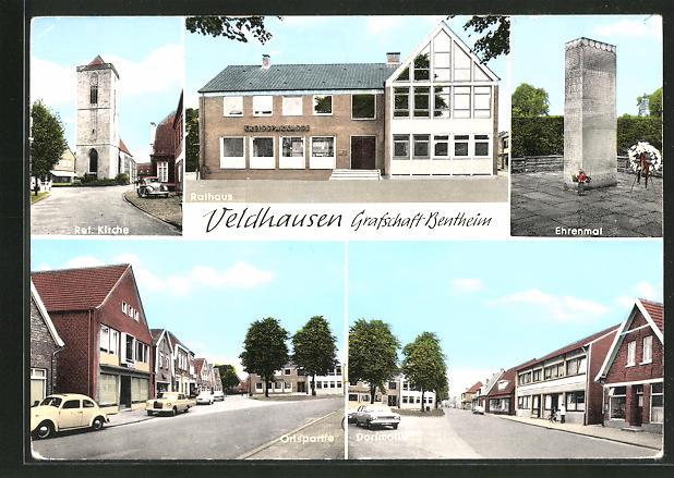 AK Veldhausen, Ref. Kirche, Ehrenmal, Rathaus, Strassenpartie 0