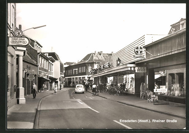 AK Emsdetten / westf., Rheiner Strasse mit Geschäften 0