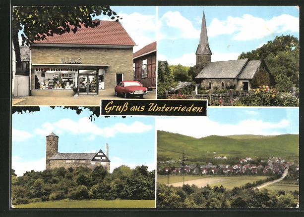 AK Unterrieden, Ortsansicht, Kirche, Geschäft 0