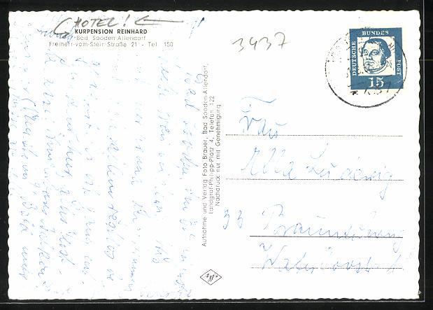 AK Bad Sooden-Allendorf, Hotel-Kurpension Reinhard, Freiherr-vom-Stein-Strasse 21 1