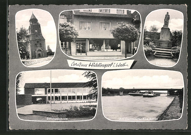 AK Hiddingsel / Westf., St. Georg-Kirche, Schule, Ehrenmal 0