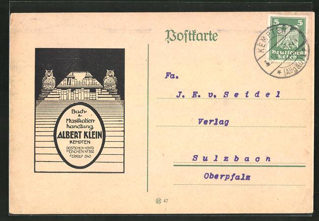AK Kempten, Buch & Musikalienhandlung Albert Klein 0