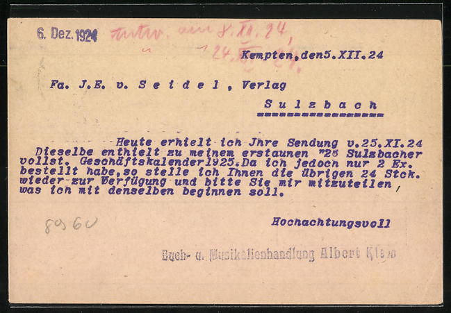 AK Kempten, Buch & Musikalienhandlung Albert Klein 1