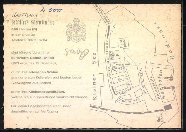AK Lindau a. Bodensee, Gasthaus Müllers Weinstuben, In der Grub 30 1