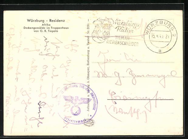 AK Würzburg, Residenz, Afrika Deckengemälde im Treppenhaus 1