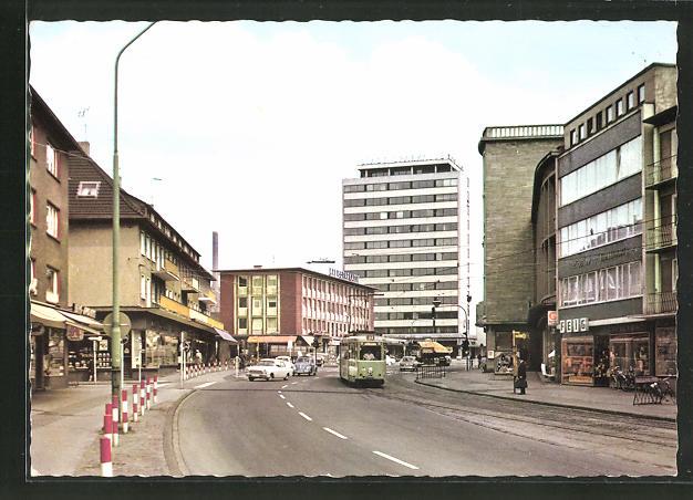 AK Marl, Bergstrasse mit Strassenbahn & Geschäften 0