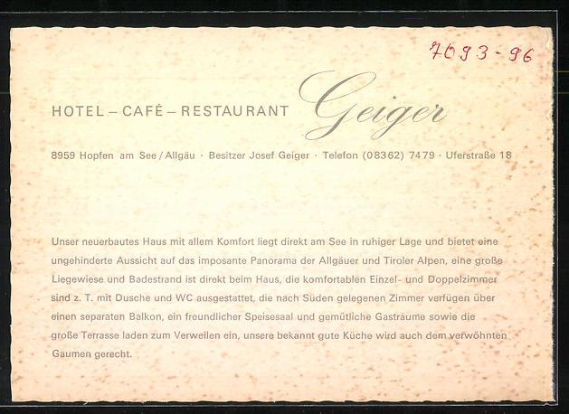 AK Hopfen a. See / Allgäu, Hotel-Café-Restaurant Geiger 1