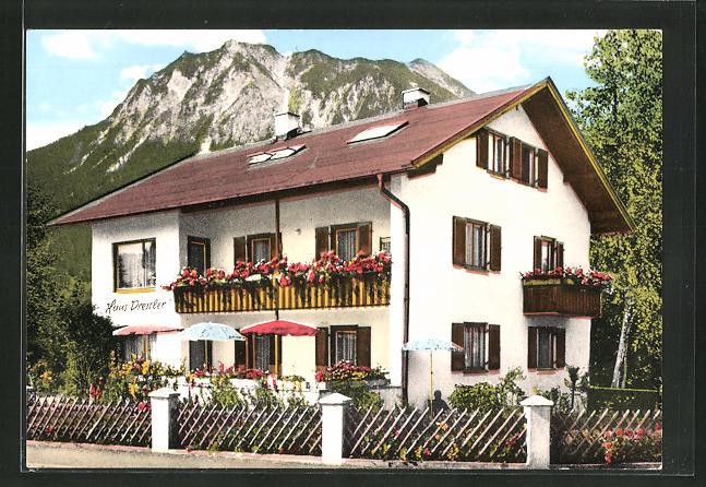 AK Oberstdorf / Allgäu, Hotel-Fremdenpension-Haus Dressler, Trettachstrasse 29 0