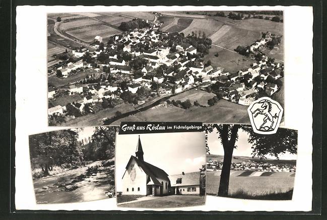 AK Röslau / Fichtelgebirge, Totalansicht, Kirche 0