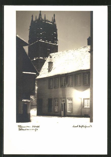 AK Münster, verschneite Winternacht im Marienwinkel mit Blick zur St. Ludgeri-Kirche 0