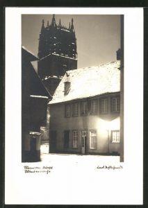 AK Münster, verschneite Winternacht im Marienwinkel mit Blick zur St. Ludgeri-Kirche