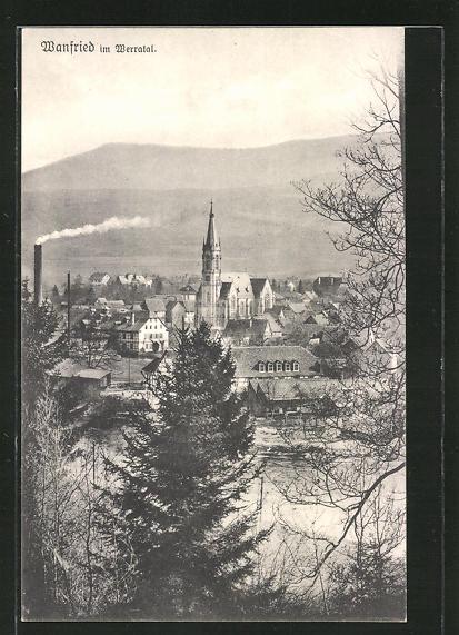 AK Wanfried / Werratal, Totalansicht aus der Vogelschau 0