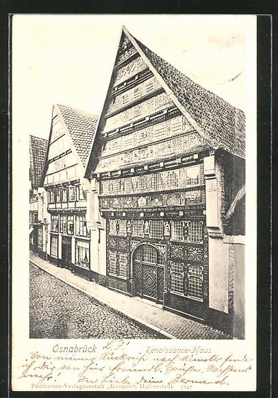 AK Osnabrück, Strassenpartie am Renaissance-Haus 0