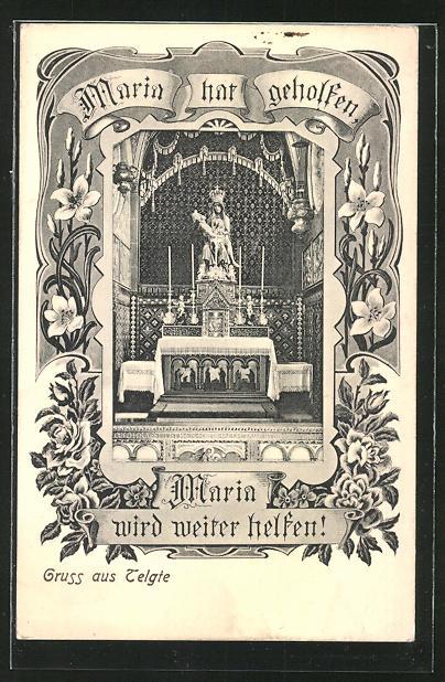 AK Telgte, Kirche, Altar, Maria hat geholfen 0