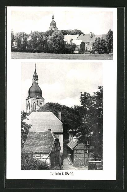 AK Nottuln / Westf., Totalansicht, Kirche 0