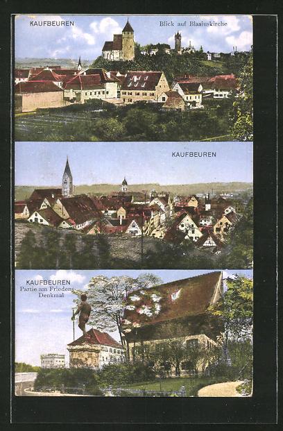 AK Kaufbeuren, Blick auf Blasiuskirche, Totalansicht, Friedensdenkmal 0