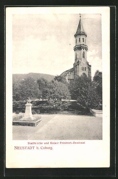 AK Neustadt, Stadtkirche & Kaiser Friedrich-Denkmal 0
