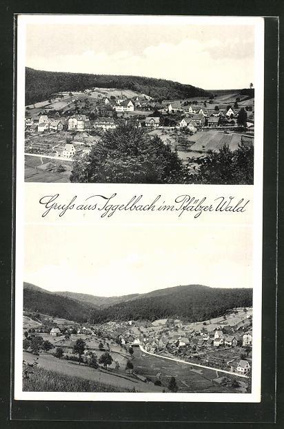 AK Iggelbach / Pfälzer Wald, Totalansicht aus der Vogelschau