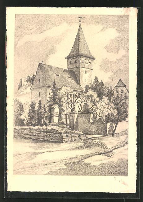 Künstler-AK Vorra / Mittelfranken, Ortsansicht mit Kirche 0