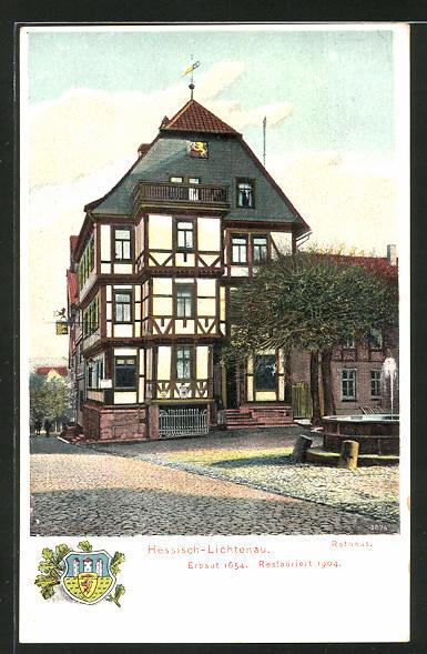 AK Hessisch-Lichtenau, Strassenpartie am Rathaus 0