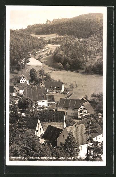 AK Hirschbach, Ortsansicht mit Prellstein 0