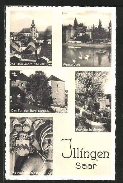 AK Illingen, Ortsansicht, Wasserburg, Burg Kerpen 0