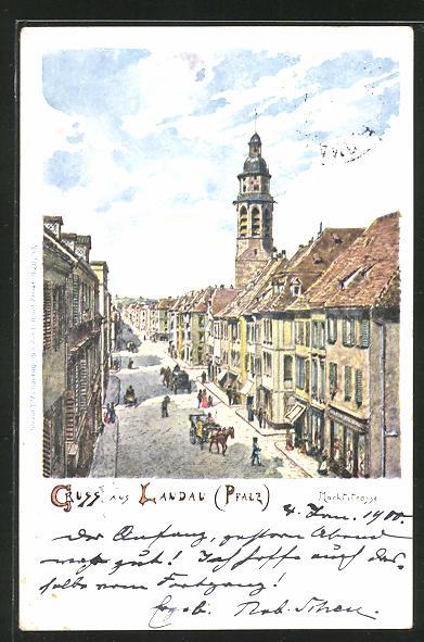 AK Landau, Marktstrasse aus der Vogelschau 0