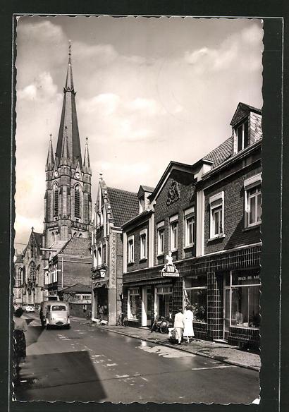 AK Emsdetten, Kirchstrasse mit Geschäften 0