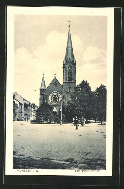 AK Münster, Strassenpartie an der Erlöserkirche