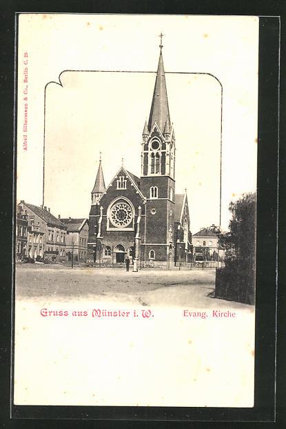 AK Münster, Strassenpartie an der evang. Kirche 0