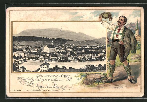 Passepartout-Lithographie Tölz, Ortsansicht mit Kirche, Mann in Tracht 0
