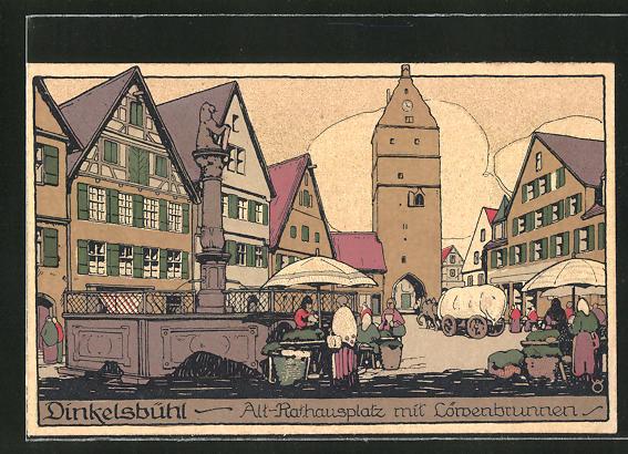 Steindruck-AK Dinkelsbühl, Alt-Rathausplatz mit Löwenbrunnen 0
