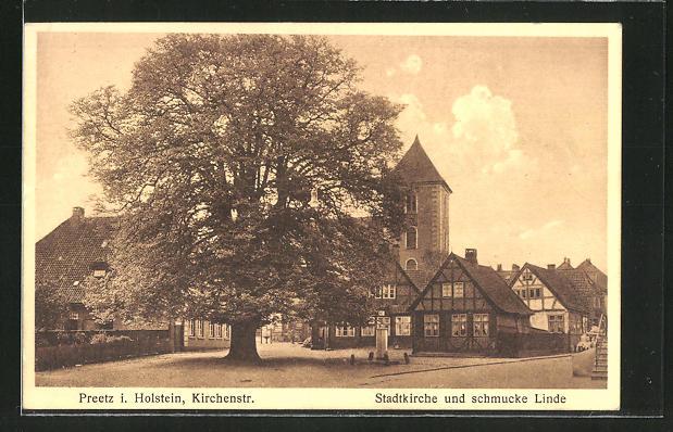 AK Preetz, Stadtkirche und Linde in der Kirchenstrasse 0
