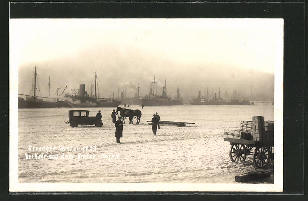 Foto-AK Kiel, Blick auf den zugefrorenen Hafen 1929 0