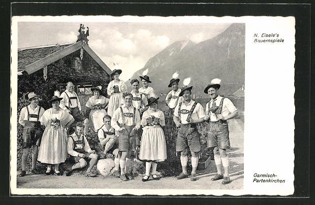 AK Garmisch-Partenkirchen, Trachtenkapelle N. Eisele's Bauernspiele 0