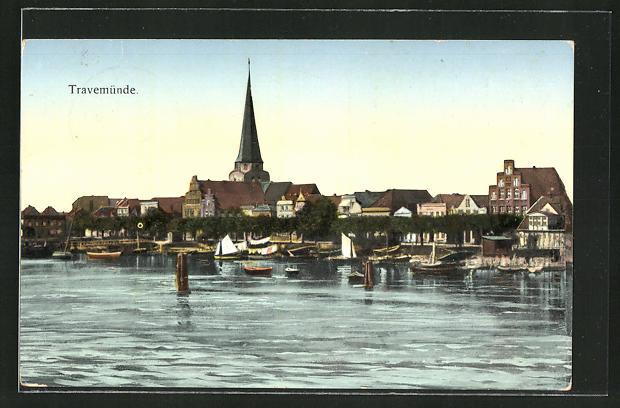Goldfenster-AK Travemünde, Ortspartie vom Wasser aus gesehen mit leuchtenden Fenstern 0