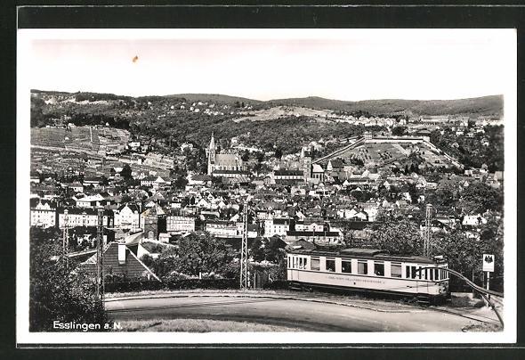 AK Esslingen, Ortsansicht mit Strassenbahn 0