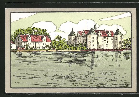 Steindruck-AK Glücksburg, Schloss vom Wasser aus gesehen 0