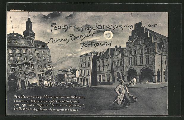Wirtshaus-AK Dortmund, Marktplatz aus der Sicht eines Betrunkenen 0