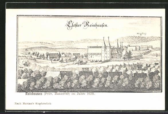 AK Reinhausen, Kloster aus der Vogelschau, Merian 0