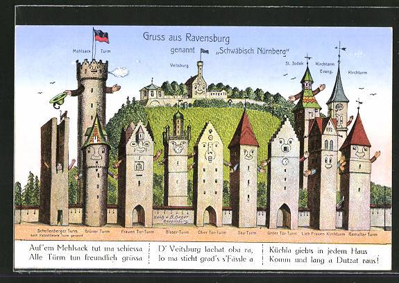 AK Ravensburg, vermenschlichte Häuser und Türme winken dem Betrachter zu, Metamorphose