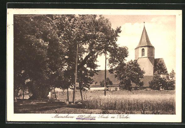 AK Meimsheim, Blick auf 1000jährige Linde und Kirche 0