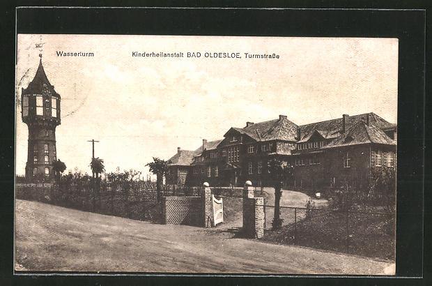 AK Bad Oldesloe, Wasserturm und Kinderheilanstalt in der Turmstrasse 0