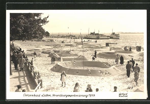 AK Laboe, Strandburgenprämierung 1953, Sandplastik 0