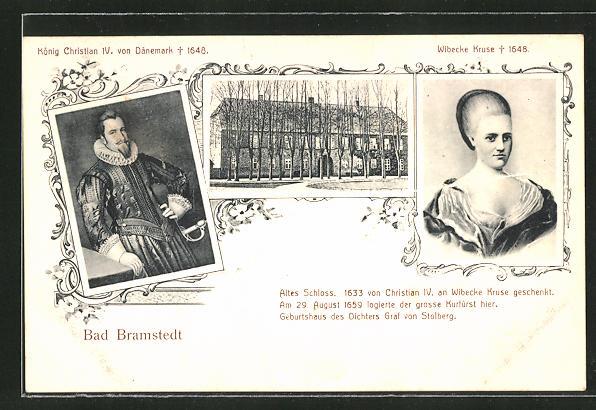 AK Bad Bramstedt, Altes Schloss, König Christian von Dänemark