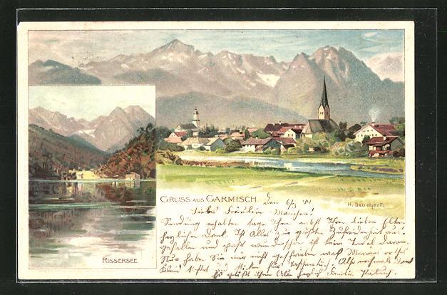 Künstler-AK Heinrich Deuchert: Garmisch, Panoramablick auf den Ort, Rissersee 0