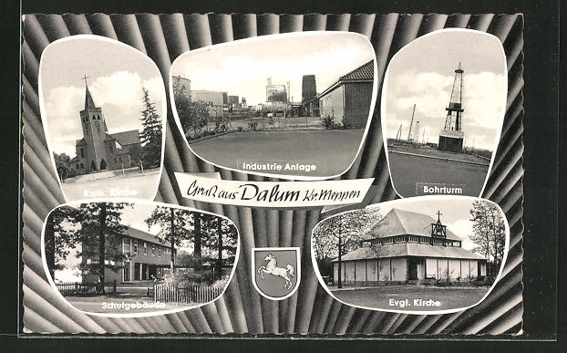 AK Dalum, Erdöl-Bohturm, Schule, Industrie-Anlage 0