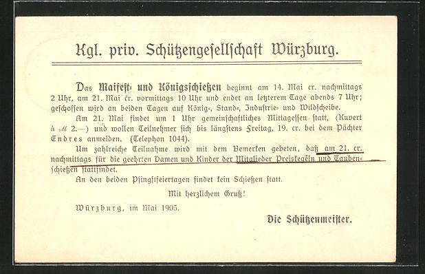 AK Würzburg, Maifest und Königsschiessen 1905 der Kgl. priv. Schützengesellschaft 0