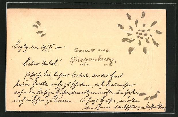 Papierkunst-AK Siegenburg, Florales Motiv 0