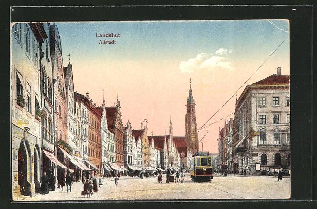 AK Landshut, Strassenbahn in der Altstadt 0